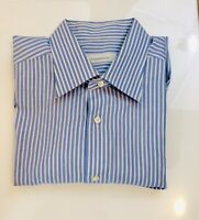Ermenegildo Zegna Mens Shirt 17.5 Blue Stripe Collar Button Front Dress Rare