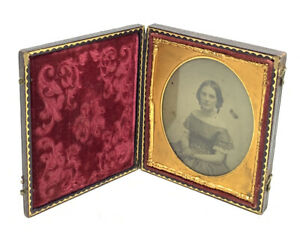 Ambrotype 6th Plate Gutta Percha Case Seated Young Girl Photo