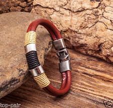 G10 Men's Cool Surfer Metal Clasp Hemp Leather Bracelet Wristband Cuff BROWN