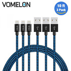 3-Pc 10ft Apple Certified Lightning Charging Cable Sync for iPhone 7 6 6s Plus