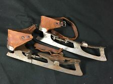 Vintage Pair of Union Hardware Co. USA Metal Ice Skates with Leather Straps