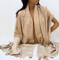 Schal weicher Damenschal Paisley Muster Viskose 215 x 75 Langschal Beige Cafe ts