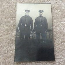 WW1> Two German Soldiers (Dress Uniforms) in Front of Railing - Picture POSTCARD