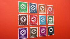 Germany 1942 NAZI's Official SWASTIKA-NSDAP Set of 12 Mint Stamps