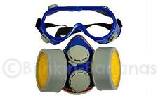DUST FACE MASK RESPIRATOR VALVE REUSABLE PAIR PROTECTIVE EYE SAFETY GOGGLES 16B