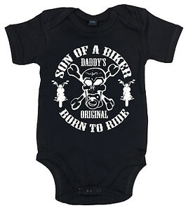 """Funny Baby Bodysuit """"Son of a Biker"""" Motorcycle Sons Anarchy Funny Boy Motorbike"""