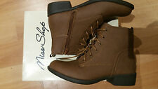 Miss Shop Boots Mable Tan Brown PU Non Leather Sz-6