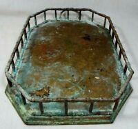 Vintage Brass Patina Faux Bamboo Gallery Tray Hollywood Regency Style W 1 Handle
