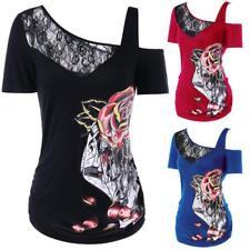 Hot Sale Women Lace Panel Rose Print Short Sleeve Skew Collar T-shirt Top Blouse