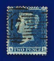1857 SG35 2d Deep Blue Plate 6 F7 AL Misperf London Good Used Cat £70 cvid