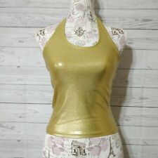 Body Wrappers Women's Small Top Gold Metallic Halter Shimmer Stretch Dancewear