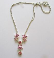 Fashion Necklace double chain- pink flowers -sparkly - silver tone