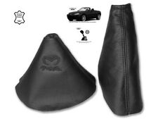 Gear & Handbrake Gaiter For Mazda MX5 MK3 2 Panels Leather Embroidery Black