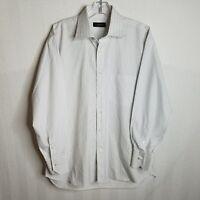 CANALI Mens White Blue Striped Button Front L/S Shirt Size 16.5 (42) Large L305