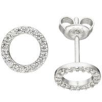 Ohrstecker Ohrringe Ohrschmuck Kreise mit weißen Zirkonia rund 925 Silber, Damen