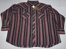 BLUESTREAM Outdoors Men's Pearl Snap Shirt L/S Striped 100% Cotton Size: 2XL