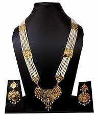 Gold Rani Haar designs Stone jewelry Indian Bridal wear necklace earrings set