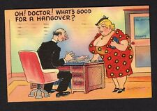 "Comic postcard buxom woman leaning over desk ""what's good for a hangover"" 1939"