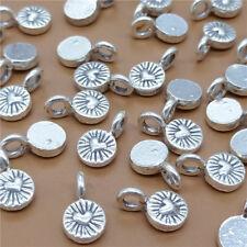 10 Thai Karen Hill Tribe Silver Tiny Round Love Heart Charms for Bracelet