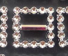 100! Silver Diamante Effect Ribbon Buckle Sliders For Wedding Invites - Square