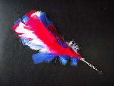 Red White & Blue Feather Headdress Clip  Flapper Girl Dance Costume Fancy Dress