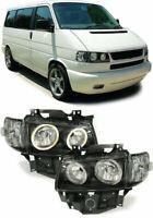 VW T4 BLACK ANGEL EYE HEADLIGHTS HEADLAMPS 8/1996-8/2003 LONG NOSE MODEL ONLY
