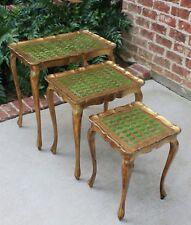 Vintage SET of 3 Italian Gold Florentine NESTING Coffee End Tea Tables Tole