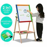 2 in 1 Wooden Adjustable Black white Easel Chalk Drawing Board 70cm
