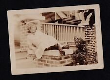 Old Vintage Antique Photograph Woman in Glasses Posing For Camera on Porch Wall