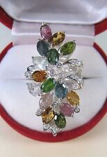 6.83 CTW FANCY TOURMALINE & WHITE SAPPHIRE RING #7.25 WHITE GOLD over 925 SILVER