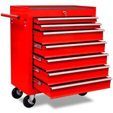 Workshop Tools Trolley with 7 Sliding Drawers 4 Wheels Toolbox Storage Organiser