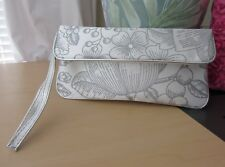 Clinique White Satin Silver Makeup Brush Holder Wristlet Cosmetic Bag
