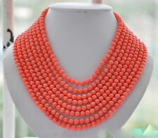 "8strands Real 6MM round pink coral bead necklace 16""-22""inch"