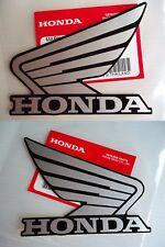 Honda Fuel Tank Wing Decal Wings Sticker x 2 SILVER & BLACK ** GENUINE HONDA **