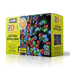 200 LED Multi Color Energía Solar Cadena De Luces De Hadas Jardín Fiesta Navidad