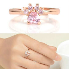 New Chic Dog Bear Paw Cat Claw Women Rose Gold Opening Adjustable Zircon Ring