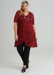 ts Taking Shape Tunic Dress Size S Red Scarlet Harmony Lace  style NWT