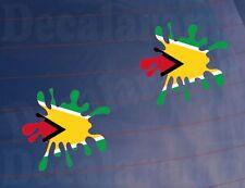 2x Color Bandera Splat Guyana Coche Divertido/Novedad/van/Ventana/Parachoques Impreso Pegatinas