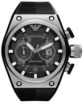 Emporio Armani Mens AR4902 Sport Black Chronograph Dial Silicone Strap Watch