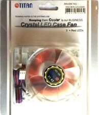 80MM PC CASE RED LED LIGHT UP COOLING FAN + FIXINGS & CABLES FOR PC MODDING ETC.