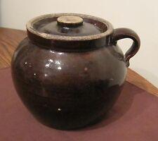 antique 1800's handmade stoneware pottery lidded bean pot brown crock jar jug