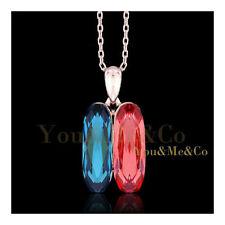 18k Rose Gold EP Oval Cut Garnet Blue Topaz Crystal Pendant Necklace