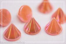 50pz Borchie sfuse a cono da cucire colore rosa effetto aurora boreale1X0,9cm