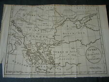 1783 Antique Copper Engraving Turkey in Europe Croatia Hungary Greece Romania