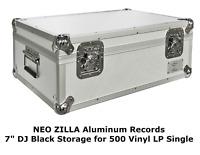 "Neo 7"" Inch LP 500 Vinyl Record Aluminium Flight DJ Storage Case Silver Color UK"