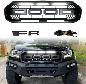 Replacement Front Hood Grille For Ford Ranger Raptor Style 19 - 21 W/LED LIGHTS