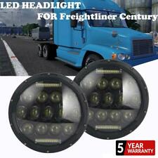 Pair 7Inch Round Black LED Headlight Sealed Hi-Lo Halo For Freightliner Century