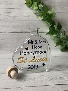 Personalised Honeymoon Wedding Holiday Sand Bottle Gift Heart Present Keepsake