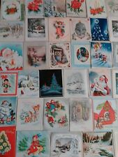 Vintage Christmas Cards Post Marked 40-50S Used Great For Scrapbooking Lot of 60