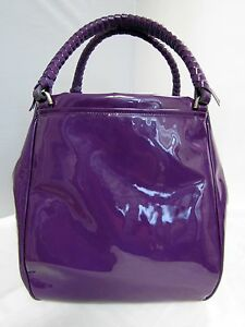 MALO PATENT LEATHER PURPLE SHOULDER TOTE HAND BAG LARGE Hobo Braided Straps